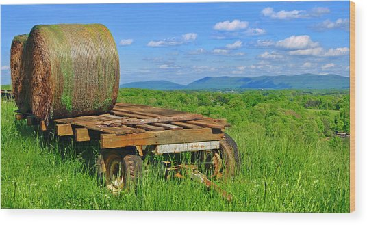 Bales At Rest Wood Print