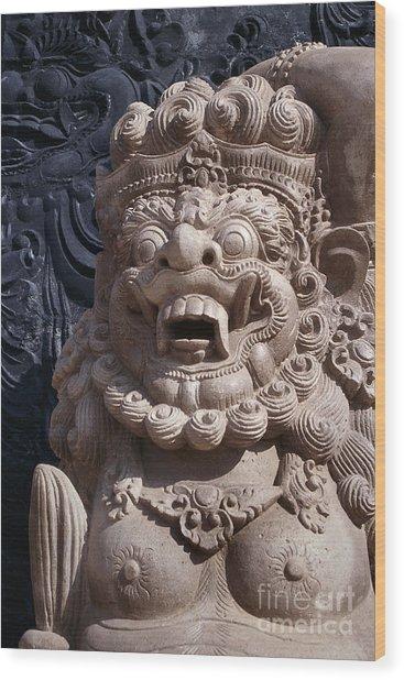 Bali Hindu Temple Sculpture Photograph - Bali Guardian I Wood Print
