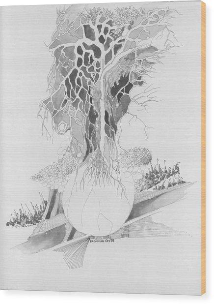 Ball And Tree Wood Print