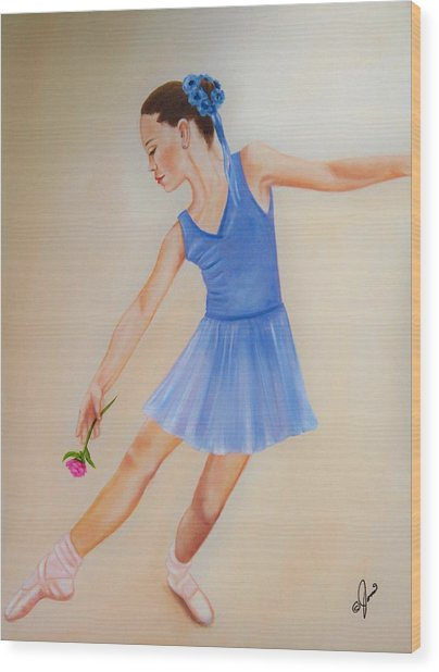 Ballerina Blue Wood Print