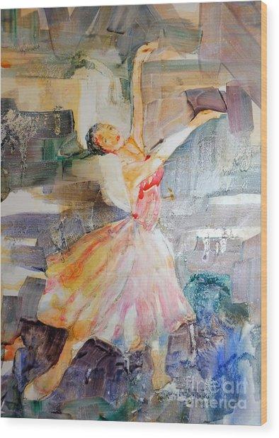 Ballerina In Motion Wood Print