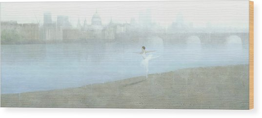 Ballerina On The Thames Wood Print
