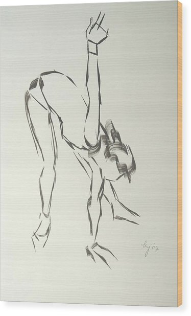 Ballet Dancer Bending And Stretching Wood Print