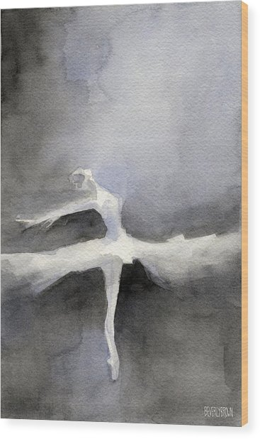 Ballet Dancer In White Tutu Watercolor Paintings Of Dance Wood Print