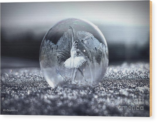 Ballet In A Bubble Wood Print
