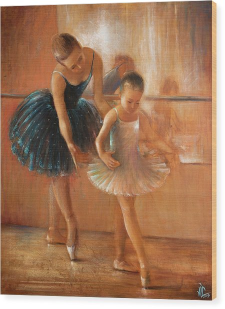 ballet lesson-painting on leather by Vali Irina Ciobanu  Wood Print