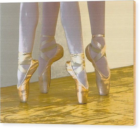 Ballet Second Position In Gold Wood Print