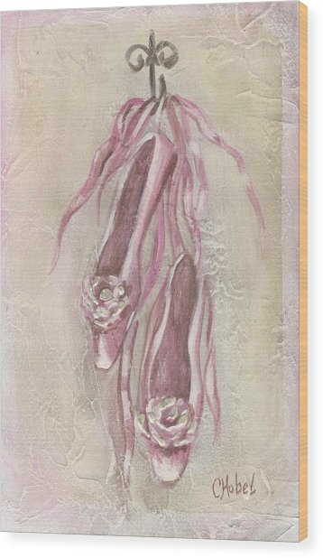 Ballet Shoes Painting Wood Print