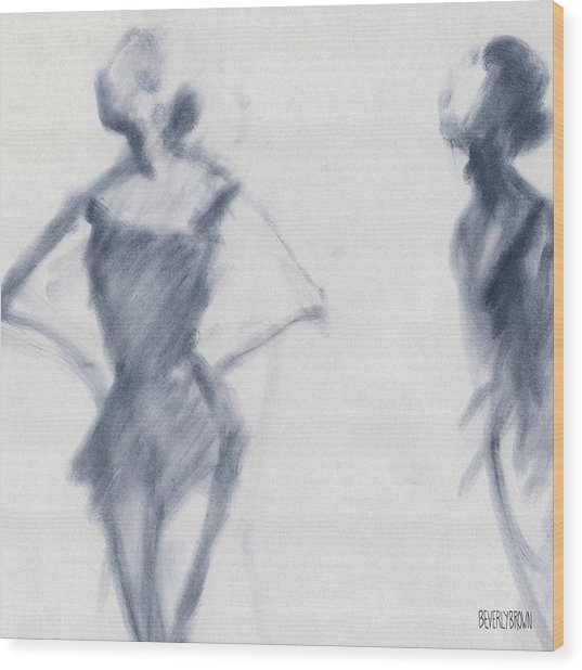 Ballet Sketch Hands On Hips Wood Print