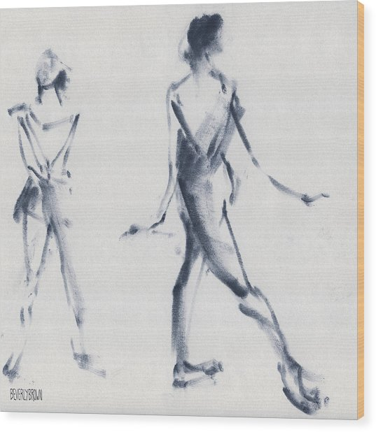Ballet Sketch Tendu Back Wood Print