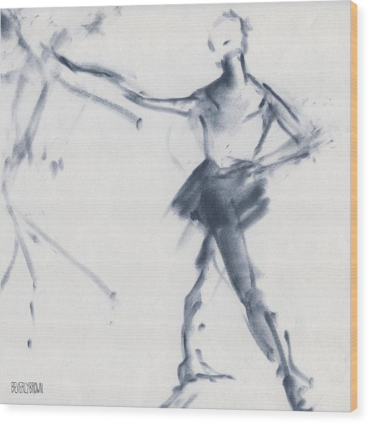 Ballet Sketch Tendu Front Wood Print