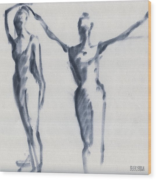 Ballet Sketch Two Dancers Arms Overhead Wood Print