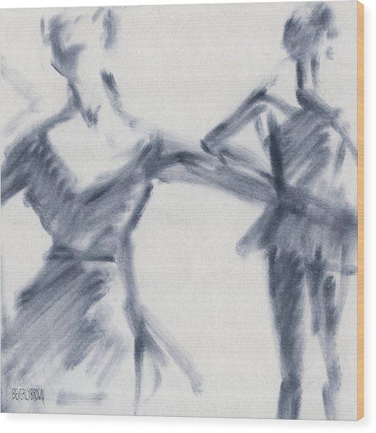 Ballet Sketch Two Dancers Gaze Wood Print