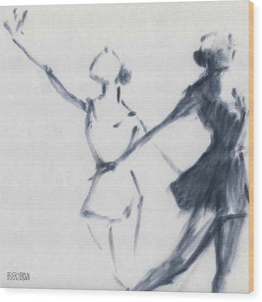 Ballet Sketch Two Dancers Mirror Image Wood Print