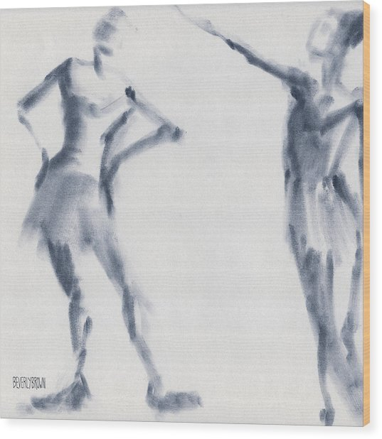 Ballet Sketch Two Dancers Shift Wood Print
