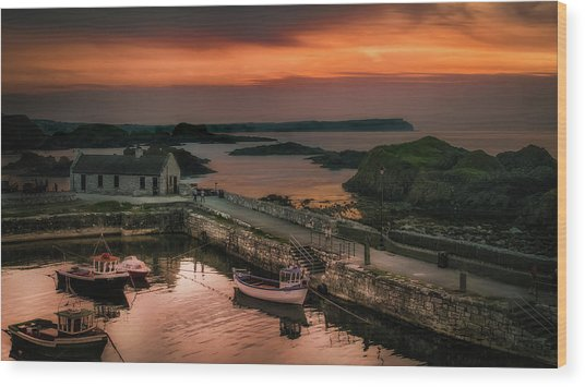 Ballintoy Harbour Sunset Wood Print