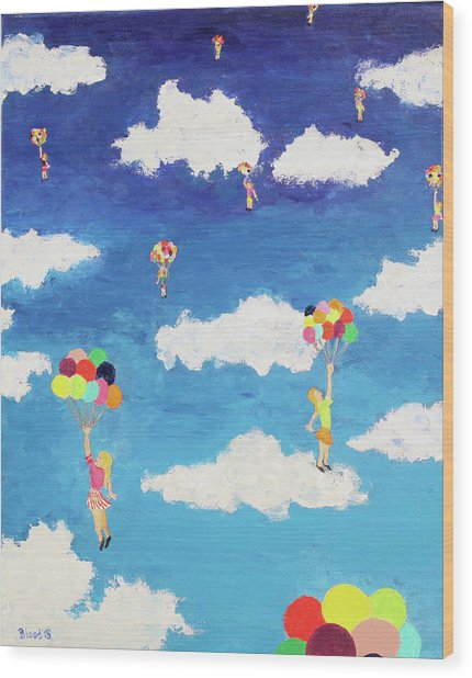 Balloon Girls Wood Print