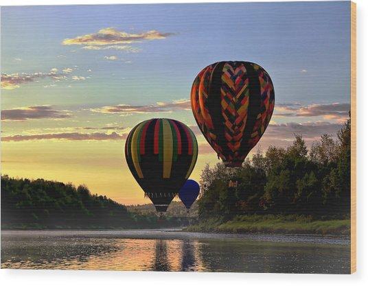 Balloon River Flight Wood Print by Gary Smith