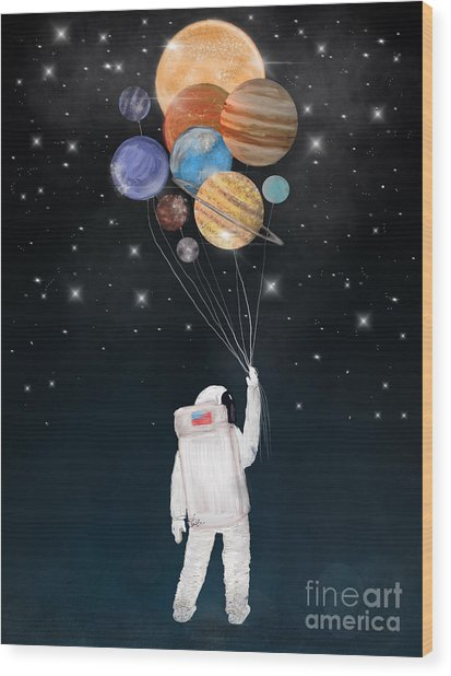 Balloon Universe Wood Print