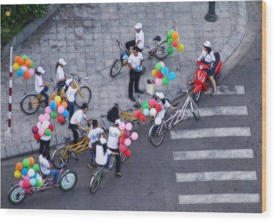 Balloons And Bikes Wood Print