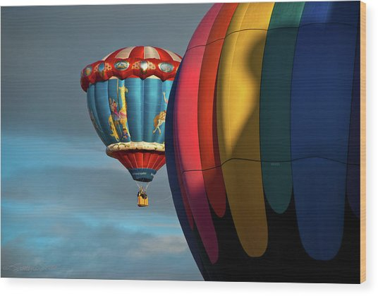 Balloons In Flights Wood Print
