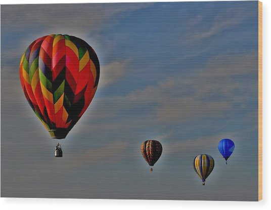 Balloons In The Sky Wood Print