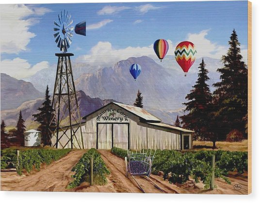 Balloons Over The Winery 1 Wood Print
