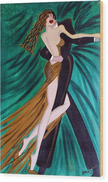 Ballroom Dancers Champagne Tango Wood Print by Helen Gerro