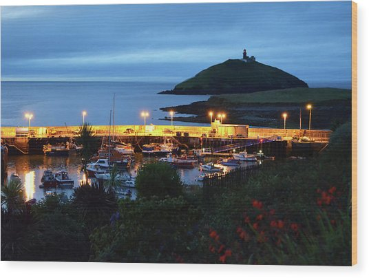 Ballycotton Ireland Marina Harbour And Lighthouse East County Cork Wood Print