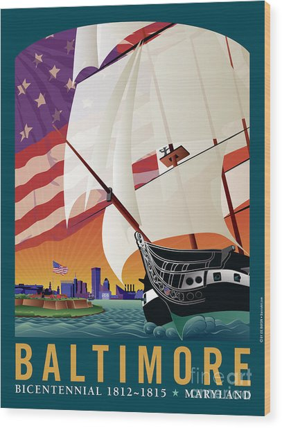 Baltimore - By The Dawns Early Light Wood Print