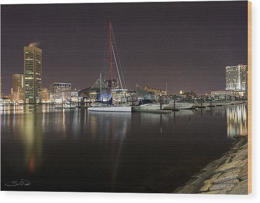 Baltimore Boat Yard Wood Print
