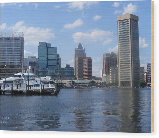 Baltimore Inner Harbor Wood Print by James and Vickie Rankin