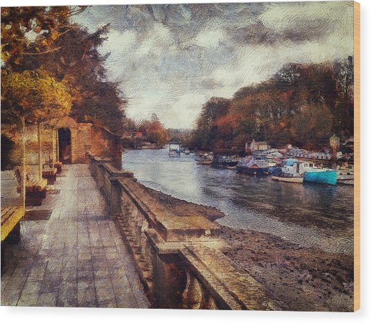 Balustrades And Boats Wood Print