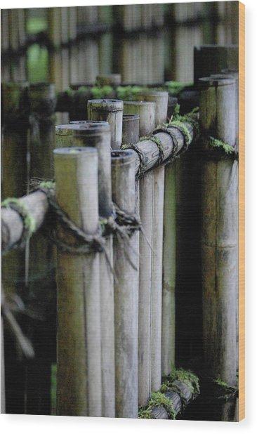 Bamboo Fence Wood Print by Samantha Kimble