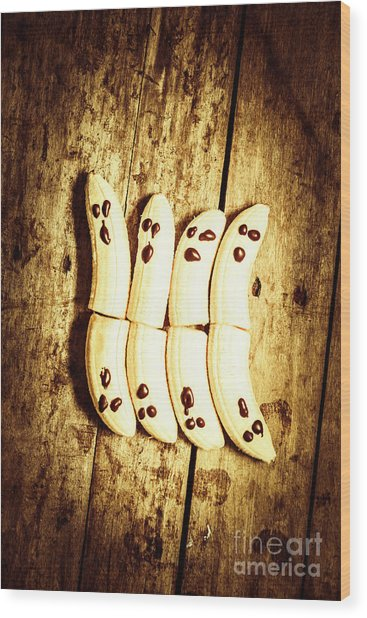 Banana Ghosts Looking To Split At Halloween Party Wood Print