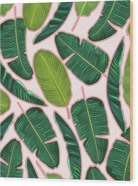 Banana Leaf Blush Wood Print