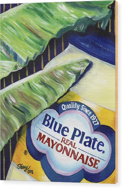 Banana Leaf Series - Blue Plate Mayo Wood Print by Terry J Marks Sr