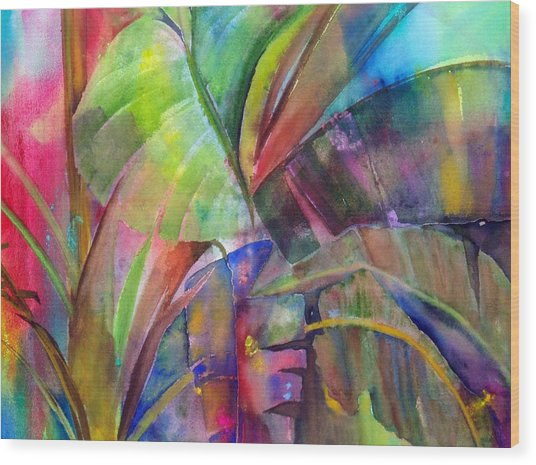 Banana Leaves IIi Wood Print by Maritza Bermudez