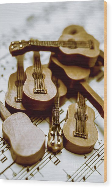 Band Of Live Acoustic Guitars Wood Print