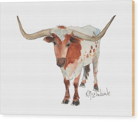Texas Longhorn Bandero Watercolor Painting By Kmcelwaine Wood Print