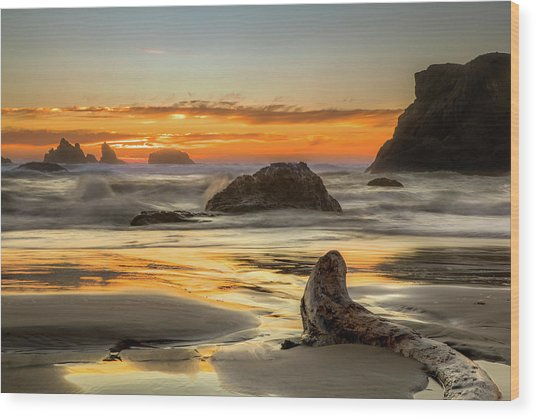 Bandon Orange Glow Sunset Wood Print