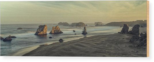 Bandon Sunrise Pano Wood Print