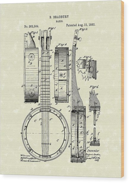 Banjo 1882 Patent Art Wood Print