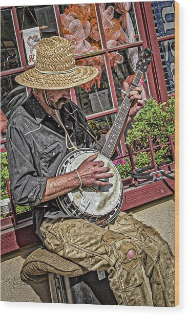 Wood Print featuring the photograph Banjo Man Orange by Jim Thompson