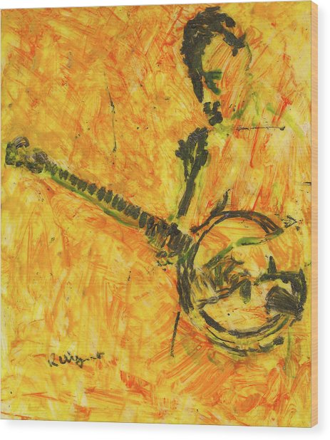 Banjo Player Wood Print by Richard Wynne