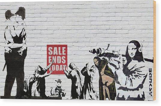 Banksy - Saints And Sinners   Wood Print