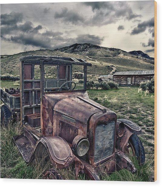 Bannack International - Square Wood Print by Renee Sullivan