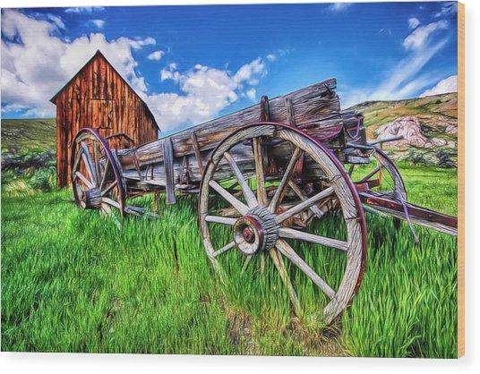 Bannack Wagon Wood Print