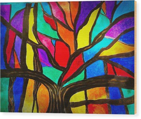 Banyan Tree Abstract Wood Print
