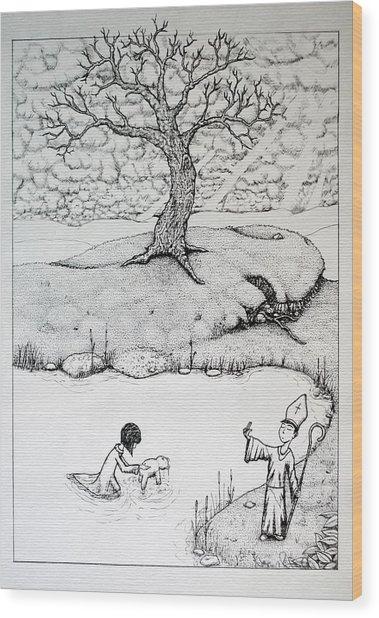 Baptism Of Ted E. Bear Wood Print